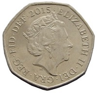 British fifty pence coin 2015-obverse